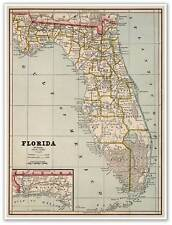 State of Florida Wall MAP by George Cram USA circa 1882 - Miami Tampa 18x24