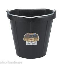"""Black 18 Qt  x 15.04"""" W. x 11.93"""" H Rubber Flat Back Feed Bucket Pail DF18FB"""