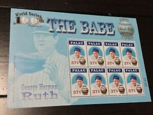 BABE RUTH STAMP SOUVENIR SHEET PALAU 100TH ANV WORLD SERIES BASEBALL MNH 2004