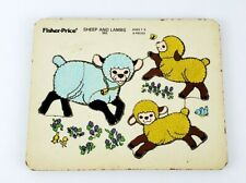 Vintage Fisher-Price Sheep And Lambs 553 Inlay Wooden Puzzle 6 Pieces