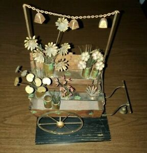 C. Jere MCM Flower Cart Metal Sculpture