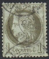 France 1871 Ceres Coloured Paper 1c Fine USED Stamp