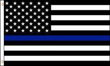 "Blue Line USA Police 3x5 Whip Flag 1/2"" White Pole with Mount Bolt UTV Sandrail"