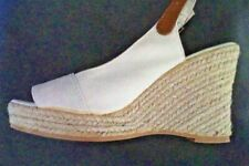 Fiore woman's cream canvas sandals -   open toe  4 inch heel - size uk 6 - eu 39