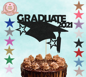 Graduate Glitter Cake Topper Party Decoration Celebration Mortar Board 2021