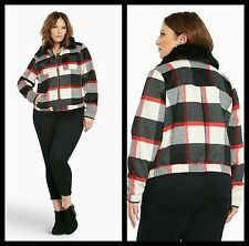 NWT Torrid Womens Plus 2 2X Plaid Wool Bomber Jacket with Faux Fur Collar (#15)