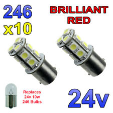 10 x Red 24v LED BA15s 246 R10W 13 SMD Number Plate Interior Bulbs HGV Truck