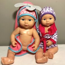 Lot of 2 New MY SWEET LOVE Baby Dolls Twins Cititoy Robe Hooded Towel Hat No Box