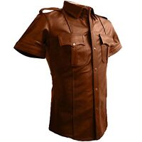 REAL LEATHER Mens Brown Police Military Style Shirt BLUF GAY Most Sizes