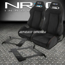 NRG BLACK SUEDE RECLINABLE RACING SEATS+BRACKET FOR 00-05 TOYOTA CELICA T230/231