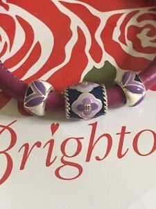 NWT Brighton WOODSTOCK Violet Leather Bracelet With Purple Casablanca Beads NEW