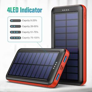 Solar Charger Power Bank 26800 mAH for iPhone, Samsung Galaxy Android - New