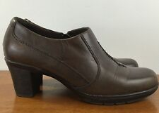 CLARKS Brown Leather Bootie Pumps Side Zipper COMFORT Heels Women's Size 8M