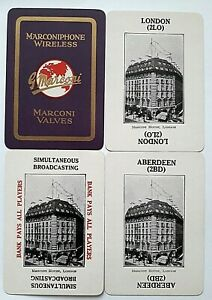 VINTAGE PLAYING CARDS CARD GAME WIDE RADIO BANK MARCONIPHONE WIRELESS Co 1924