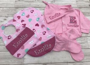Baby Girl Gift Set Personalised Embroidered Custom Sleepsuit Hat Bib Burp Cloth
