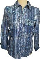 Robert Graham Womens Blue Gray Paisley Embroidered Flip Cuff Shirt Top Large