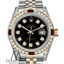Ladies Rolex 2 Tone 26mm Datejust Black Diamond Accent Dial with Ruby & Diamond