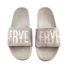 Frye Womens 7.5 Lola Perf Logo Slide Sandal Silver Metallic Spell Out