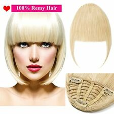 Human Hair Extensions Clip in Bangs Fringe Front Hair Extensions Straight One Pi