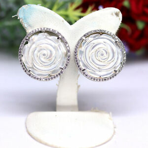 NATURAL MOTHER OF PEARL ROSE CARVED & CZ EARRINGS 925 STERLING SILVER