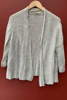 Eileen Fisher Sweater Large Gray Linen Blend Cardigan Open Front Sheer