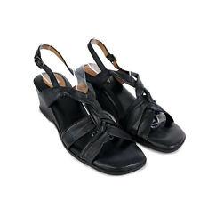 Clarks Artisan Womens sz 9.5 N Black Leather Open Toe Slingback Wedge Sandals