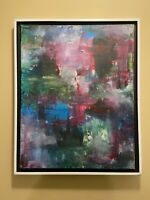 Pink and Blue abstract original modern acrylic canvas painting 16x20 ships free