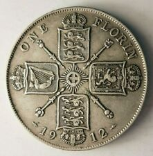 1912 GREAT BRITAIN FLORIN - AU - High Quality Silver Coin - Lot #A7