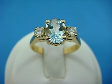 "18K YELLOW GOLD AQUAMARINE AND 2 DIAMONDS LADIES ""PAST,PRESENT AND FUTURE"" RING"
