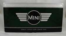 Superb LARGE British Racing Green Mini Cars Tin Plate Wall Sign 25cm x 50cm NEW