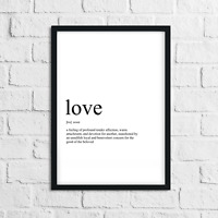 Funny Love Meaning Print, Definition, Typograpy, Wall Art Gift, Home Decor