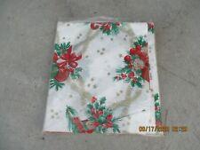 """Vintage """"Happy Holidays"""" Christmas Tablecloth & Napkin Set 54"""" X 90"""" USA NIP"""