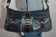 LUCE Blue Brown Small Medium Leather Shoulder Hobo Tote Satchel Slouch Purse Bag