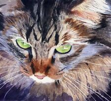 Giclee PRINT Tabby Maine Coon Cat Art Painting Watercolor 8x10 brown realistic
