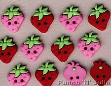 SEW CUTE STRAWBERRIES - Strawberry Pink Novelty Dress It Up Sewing Craft Buttons