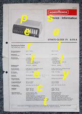 NORDMENDE SCHALTPLAN Strato-Clock 171 Typ 8.175.A Service Information Schaltbild