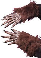 Peludo Marrón Hombre lobo guantes piel MANOS UÑAS Disfraz Halloween NUEVO