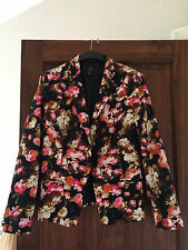 LADIES MNG COLLECTION (MANGO) FLORAL LINED JACKET  SIZE EUR XL   VERY GOOD COND