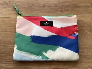 Kate Spade New York Purse Make Up Pouch with Zip Green Blue Pink