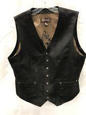 DANIER Mens Leather Vest Dark Brown Dragon/Lion Decal, Size L