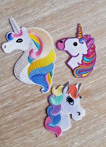 UNICORN Embroidered Iron On Sew On Patch Children Crafts Rainbow