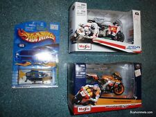 Lot of 3 Maisto Die Cast Motorcycles + Hot Wheels Helicopter - CHRISTMAS GIFTS!