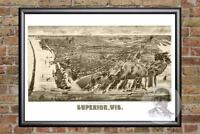 Vintage Superior, WI Map 1893 - Historic Wisconsin Art Old Victorian Industrial