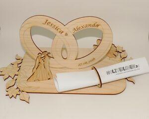 Hochzeitsdekoration Hochzeitsgeschenk Gutscheinhalter mit Gravur Brautpaar Ringe