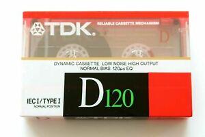 Vintage 1988 TDK D120 Ferric Blank Audio Cassette 120 Minute Tape New Sealed