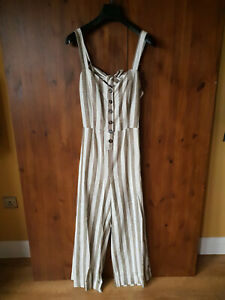 RRP £140 - J.O.A. Just One Answer JUMPSUIT Cream Beige Striped M / 12 / 40 - NEW