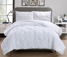 White Pinch Pleated Duvet Cover Set Microfiber Bedding Set With Pillowcase