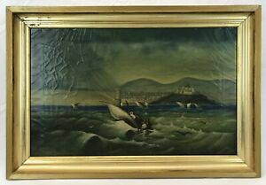 Antique 1905 Mediterranean Maritime Oil Painting Boats Fort Landscape Signed
