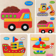 Child Cartoon Transport Design Wooden Blocks Puzzle Game Educational Toys Gifts