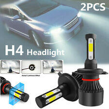 2PCS H4 LED Car Headlight Conversion Kit COB Bulb White Power 6000K IP68 4 Side